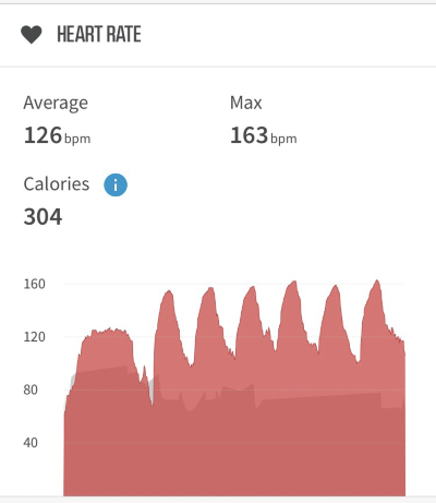 Data from my Wahoo Tickr heart rate monitor